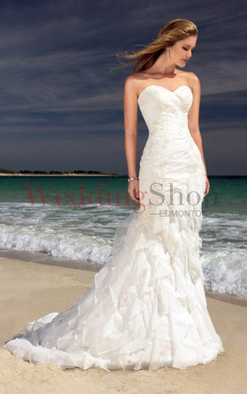 Mermaid Trumpet Sweetheart Chapel Train Organza Wedding Dresses