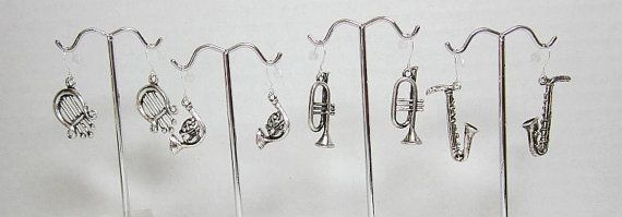Silver Musical Instrument Earrings Lyre French Horn Trumpet Saxophone Music Jewelr by LuvaBead http://etsy.me/1lXrSPr via @Etsy #musicalearrings #trumpet #lyre #saxophone #frenchhorn #musicalinstruments by LuvaBead, $8.00