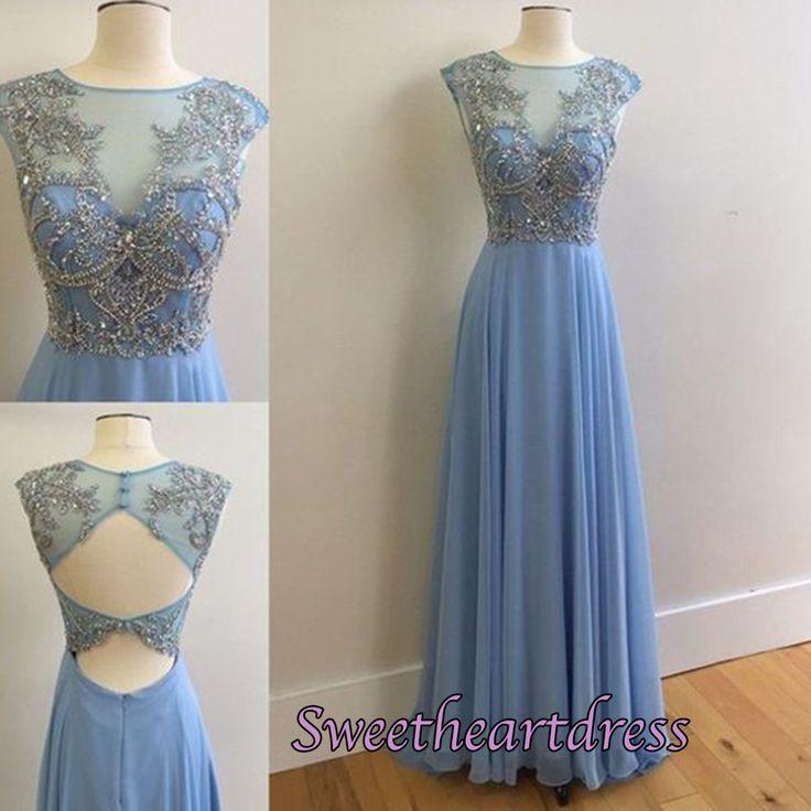 Cute long blue chiffon modest prom dress with beautiful top details, homecoming dress 216 #coniefox