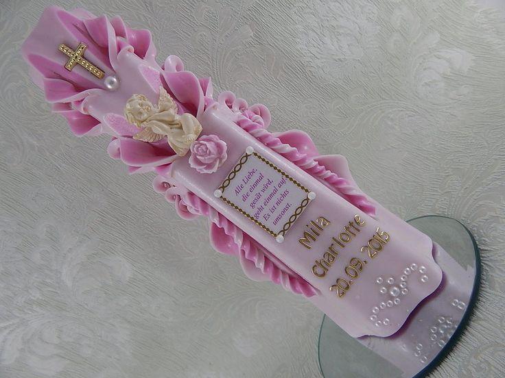 Taufkerzen Taufkerze Mädchen Taufspruch Schutzengel Engel 3D Rosa Mit Name  NEU