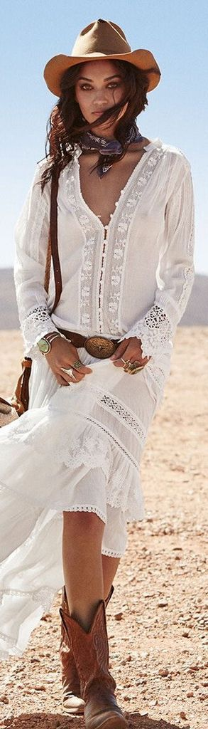 This winner will take you places!! Laced floral design with white background fabric outfit,knee length boot and hat to top it off. (Boho Top Hippie Bohemian)