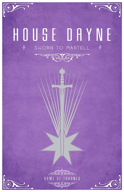 House Dayne Sigil – A Silver Sword across a Falling Star - Sworn To House Martell Game of Thrones