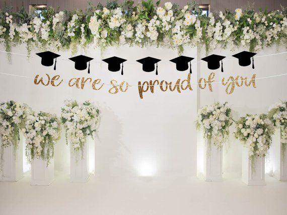 We are so proud of you banner graduation banner grad party decor graduation party graduation backdro