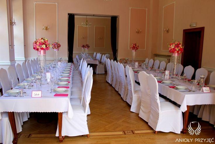 5. Pink Wedding,Centerpieces / Różowe wesele,Dekoracje stołów,Anioły Przyjęć