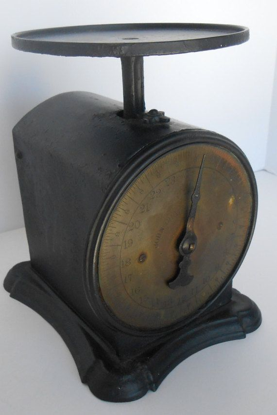 Vintage Scale John Chatillon and Sons Iron Brass Face Antique Rustic Industrial Postal