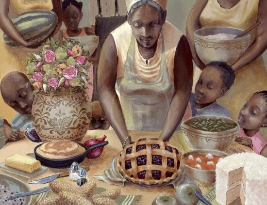"""""""Mama's Table"""" by John Holyfield. Just looking at this work of art makes me hungry and makes me miss my mother and those old school Sunday dinners."""