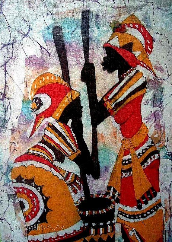 African Art Vintage Batik Painting Women Prepare Food by WitSister, $30.00