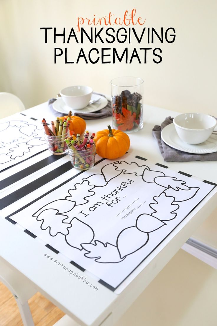 Use these sweet, simple printable placemats for your Thanksgiving kids table. More kids table ideas on the blog.  by twentyfivethings