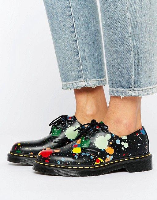 Dr Martens 1461 Splatter Smooth 3 Eye Flat Shoes - $125