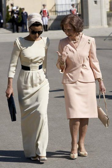 Sheikha Mozah with Queen Sofia of Spain in 2011.