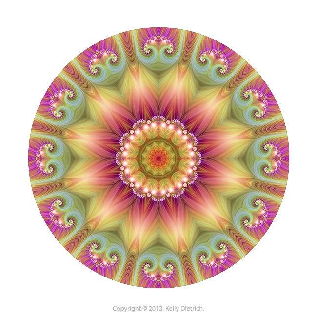 Beauty Mandala Art Print in Pink, Green, and Yellow - Colorful Fractal Kaleidoscope Art