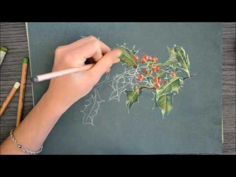 Peindre des brins de houx aux pastels secs par Cindy Barillet