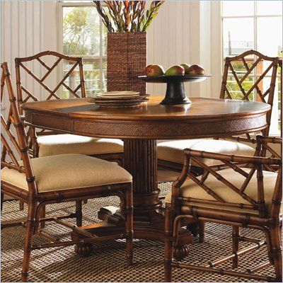 Tommy Bahama Home Island Estate Cayman Pedestal Casual Dining Table In Planta