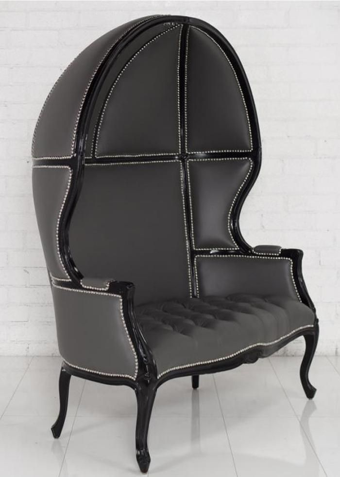 Beau Louiseat Balloon Loveseat In Charcoal Leather Modern Wing Chairs