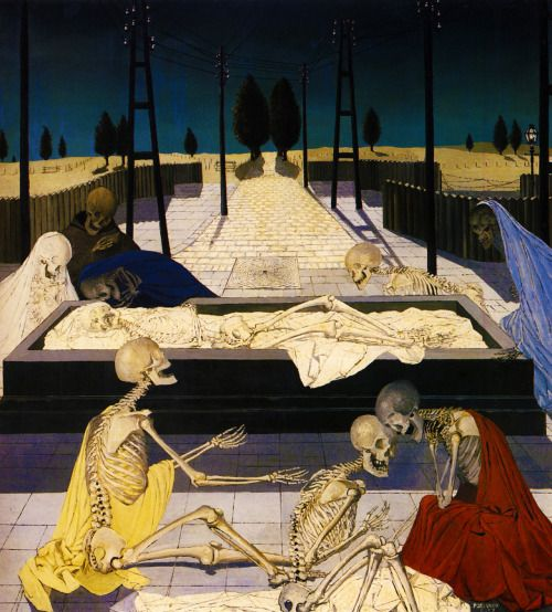 """dutch-and-flemish-painters: """" pixography: """" Paul Delvaux ~ """"The Focus Tombs"""", 1957 """" Paul Delvaux ( 23 September 1897 – 20 July 1994) was a Belgian painter associated with Surrealism, famous for his paintings of female nudes and skeletons. """""""