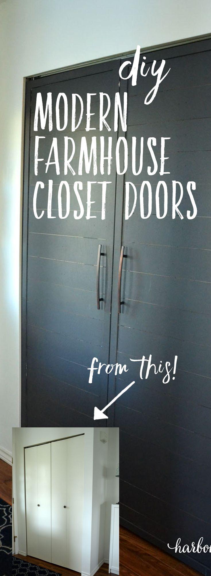 Convert Bi-Fold Closet Doors into French Doors with a Modern Farmhouse Style | diy tutorial