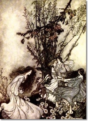 """Arthur Rackham, original illustration for J.M. Barrie's """"Peter Pan in Kensington Garden"""", c. 1906"""