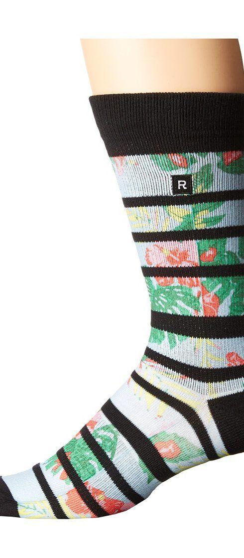 Richer Poorer Hibiscus Athletic Socks (Black) Men's Crew Cut Socks Shoes - Richer Poorer, Hibiscus Athletic Socks, MVH-HBSC01, Footwear Socks Crew Cut, Crew Cut, Socks, Footwear, Shoes, Gift, - Fashion Ideas To Inspire