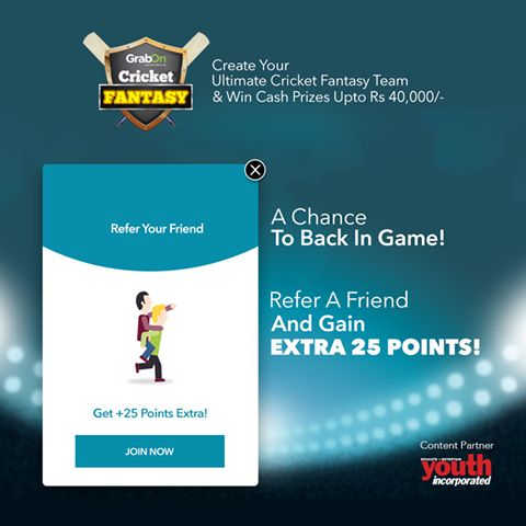 Here's Your Chance Of Getting Back Into The Game! REFER. Get Bonus Points. Close The Gap! Visit http://www.grabon.in/cricketfantasy/ #WT20 #GrabTheCup #WorldT20