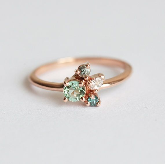 Blue Diamond Green Tourmaline Ring Rose Gold, Mint Engagement Ring, Unique Cluster Ring with diamonds