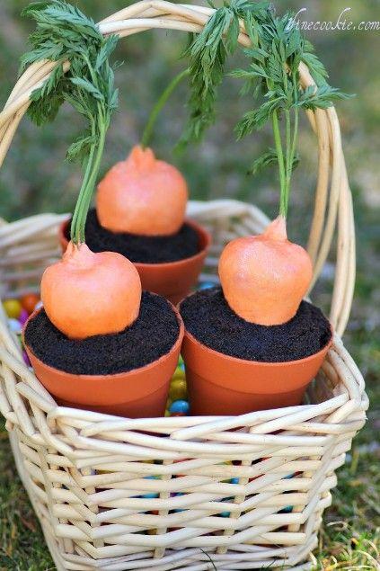 "Stuffed Strawberry ""Carrots"" in a Cupcake Garden"