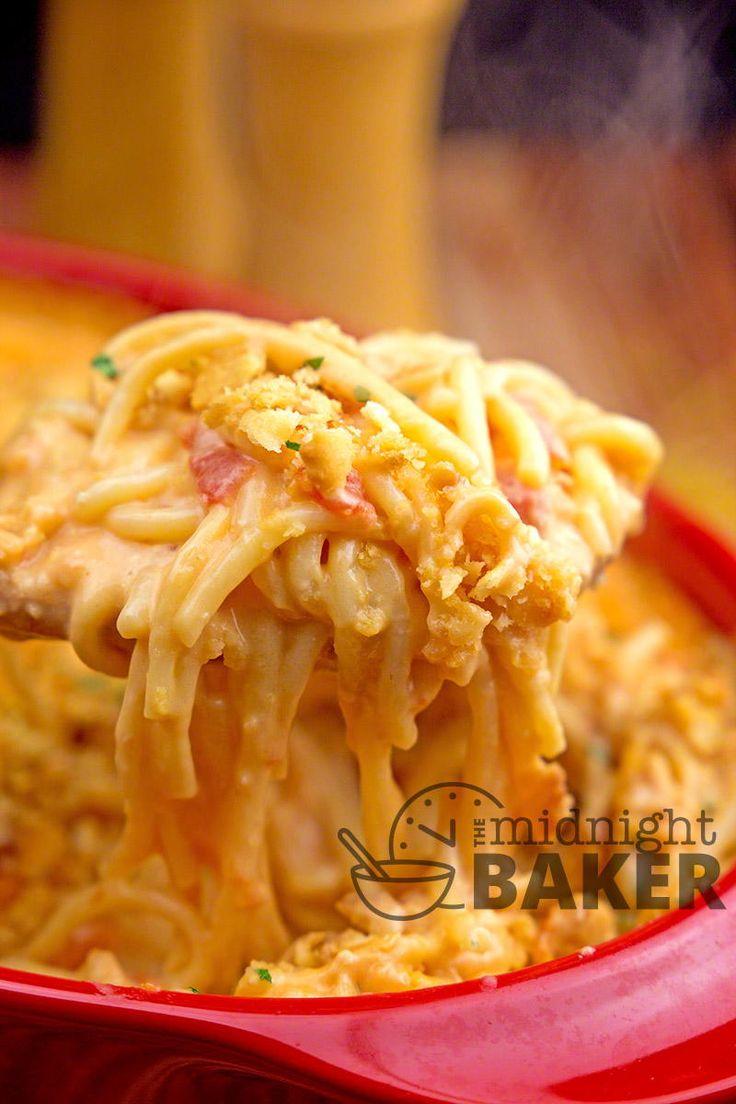 Tex-Mex Creamy Chicken Spaghetti | Chicken, spaghetti, Velveeta, Ro-Tel, tortilla chips, canned soup