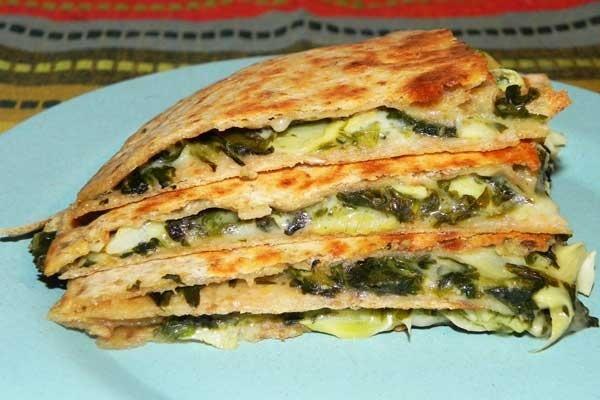 Spinach Artichoke Veggie Quesadilla