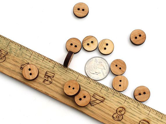 Black Cherry Wood Mini Buttons . Laser Cut by TimberGreenWoods, $3.95