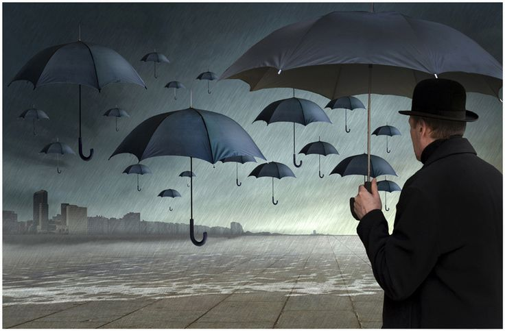 The Flying Umbrellas, by Patrick Desmet Magritte inspiration