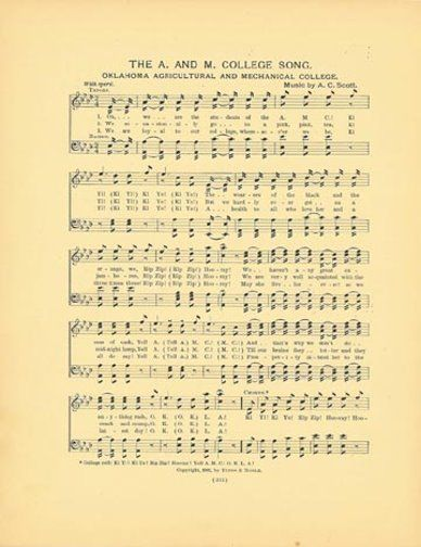 OKLAHOMA STATE UNIVERSITY OSU Antique Song Sheet 1906 The A. and M. College Song #SongSheet