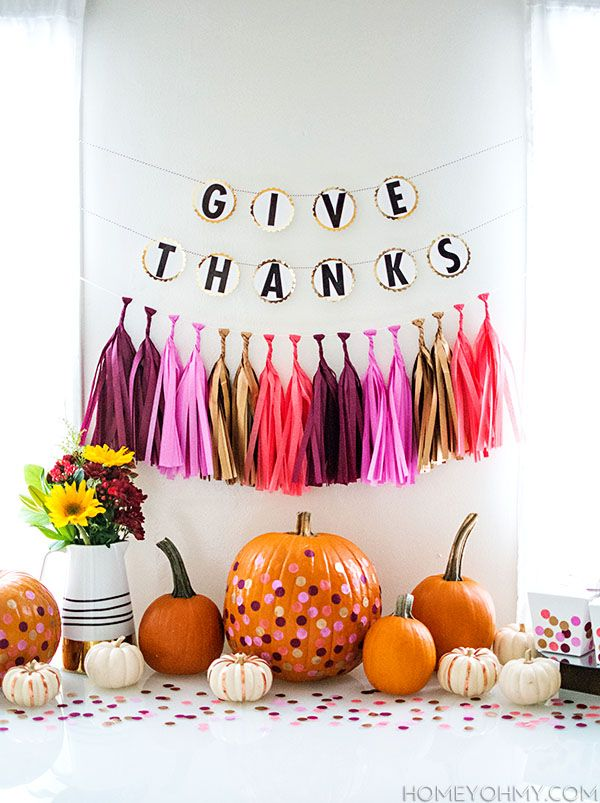 Colorful and fun DIY party decor for a Thanksgiving celebration with friends