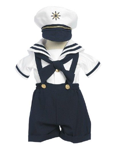 Baby and Infant Boy Sailor Shortall Set with Hat