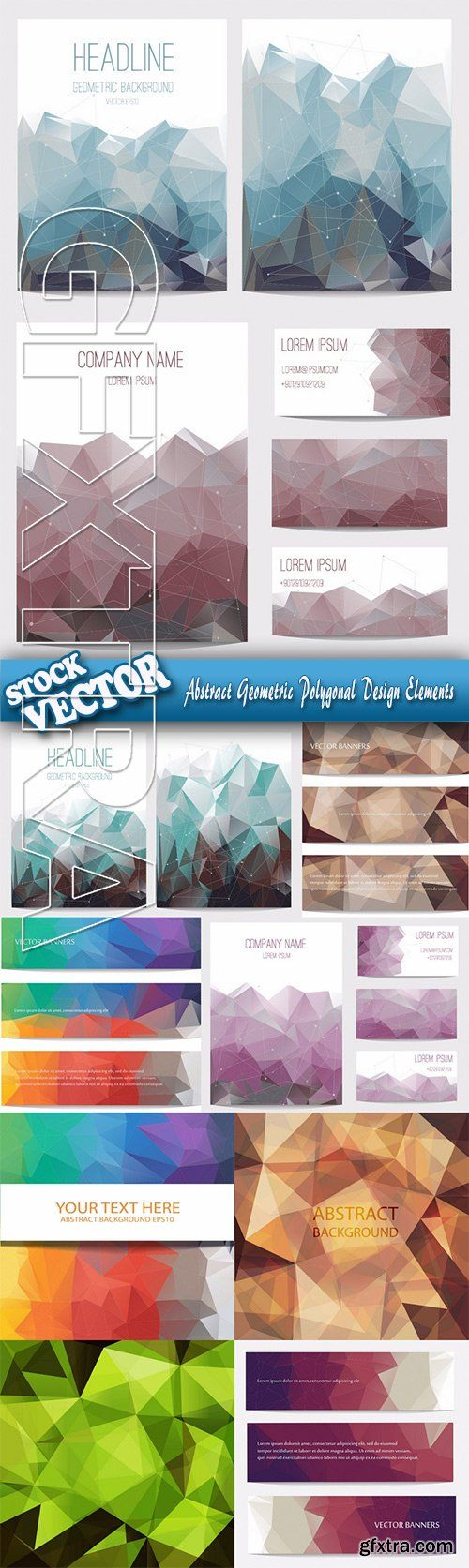 Stock Vector - Abstract Geometric Polygonal Design Elements