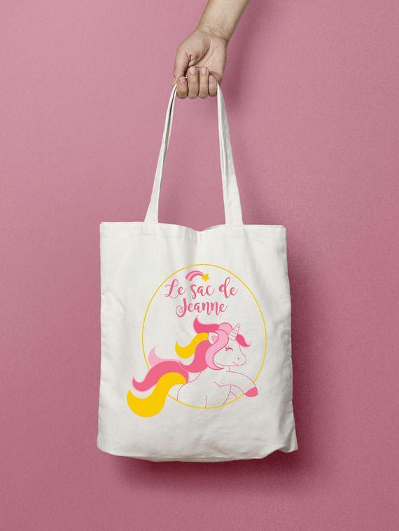 Tote bag personnalisé Licorne, sac coton enfant, sac personnalisé, cadeau enfant