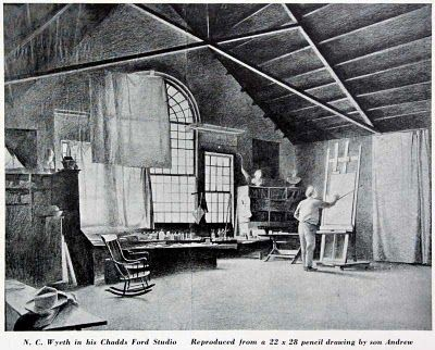 N.C. Wyeth's studio. This drawing by a teenage Andrew Wyeth shows N.C. at work, with the light conditioned by drapes dangled from the window.