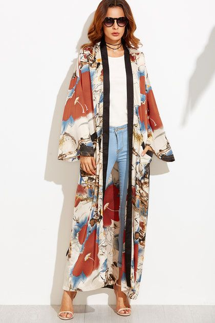 Multicolor Flower Print Contrast Trim Belted Maxi Kimono - Get The Look! Beyonce's Grand $21,945 Gucci Floor-Length Kimono