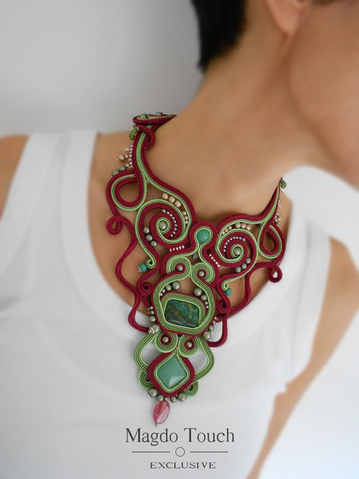 OOAK soutache statement necklace dark red necklace gift idea for her best selling jewelry victorian crochet gloves big chocker necklace by MagdoTouch on Etsy