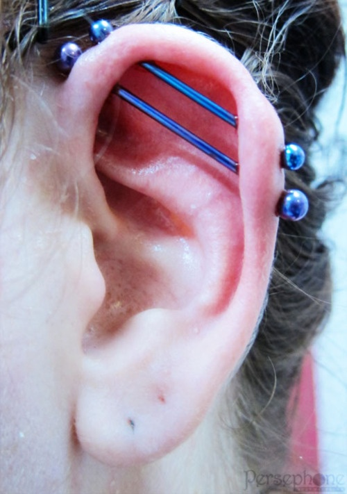 Double industrial - by Dimmie Flay at Persephone Body Piercing
