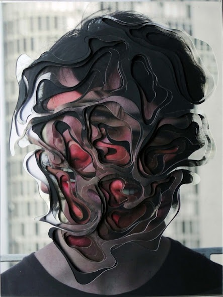 Lucas Simões was born in 1980 in Brazil.    An independent artist, he studied architecture and design in Brazil and Italy. Many of Lucas' pieces are heavily layered as he cuts away at different sections of each layer to produce a bizarre and distorted image you can't help but stare at. In another project, Lucas takes rolls of the same image to create an incredible sequence-like shot.