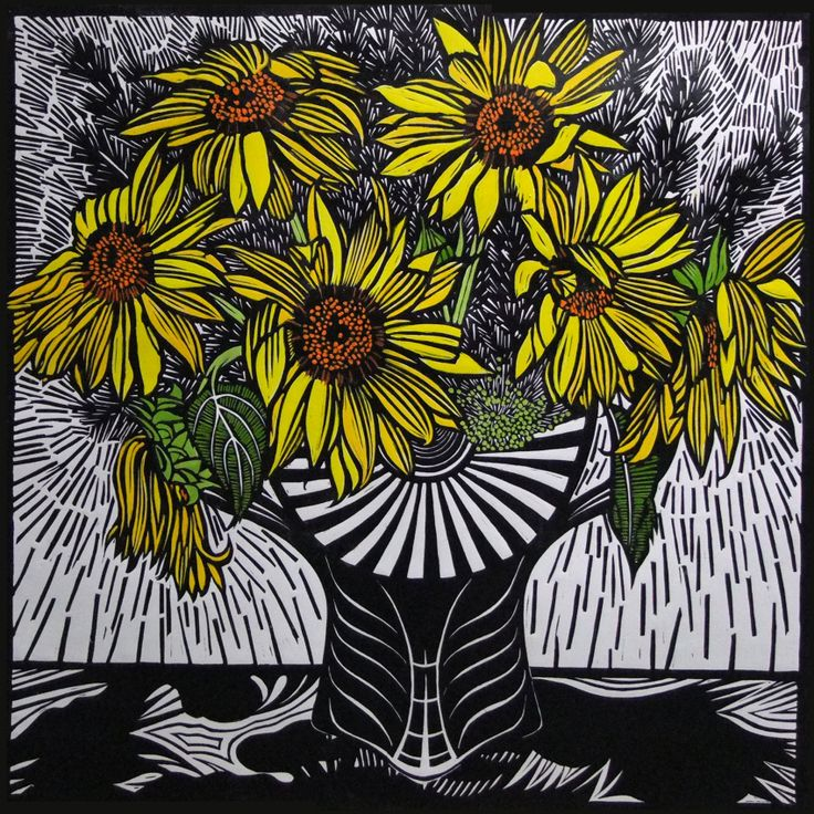 Sunflowers by Gail Kellett, 65cm w x 65cm h