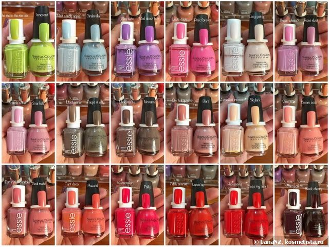 Лаки Essie и их дюпы от бюджетного бренда Sinful Colors