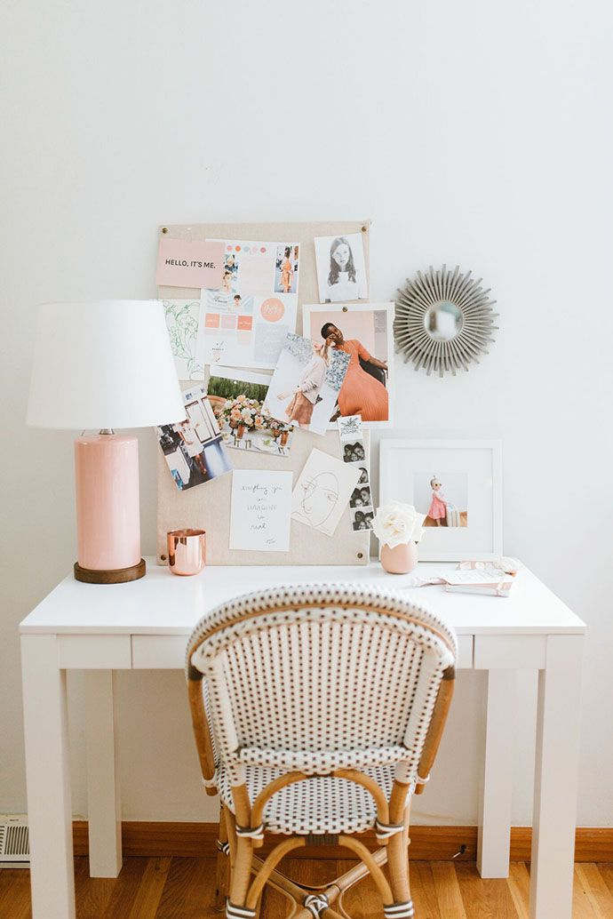 A fun and feminine space to work | Serena & Lily Riviera Side Chair, as seen on the Glitter Guide