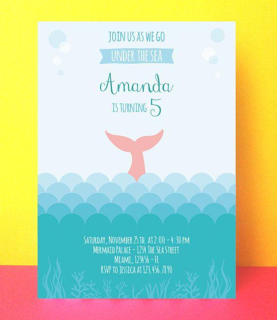 Mermaid Invitation Birthday , little mermaid invitation, Instant download, Editable pdf, little mermaid party, printable mermaid invite  ALL