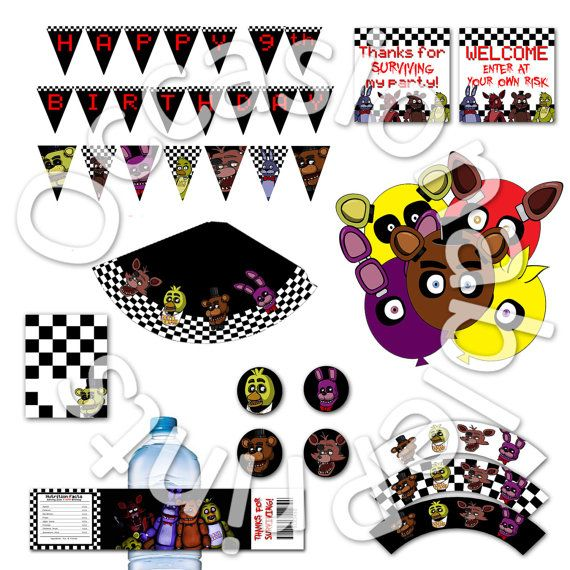 PRINTABLE FNAF Party Pack - Includes 8 items - Birthday Party decor bundle - Five Nights at Freddy's
