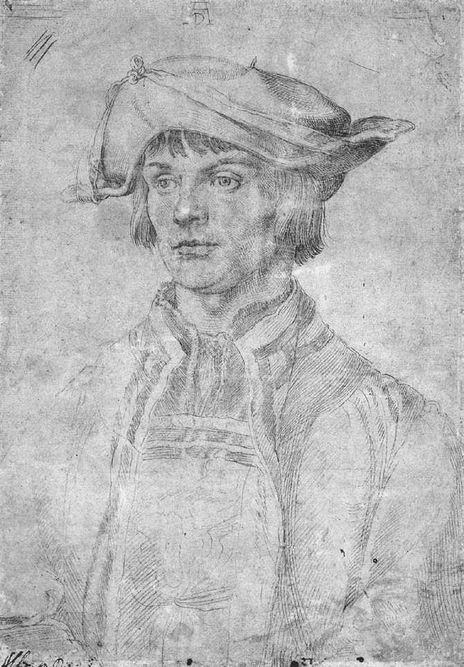 The Painter Lucas van Leyden. Durer. 1521. Silverpoint drawing on paper. 244 x 171 mm. Musée des Beaux Arts. Lille.