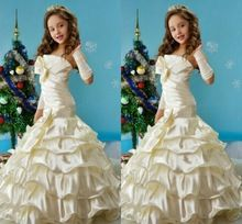 2014 Caliente Sin Tirantes de La Sirena Flores Vestido de La Muchacha Para El banquete de boda Arco de La Colmena de Vestidos de Desfile de la Muchacha Vestidos Formales Piso-longitud(China (Mainland))