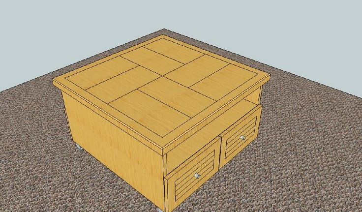 Design created by Dimension Cabinets, coffee table with pull out drawers and shelf for storage.