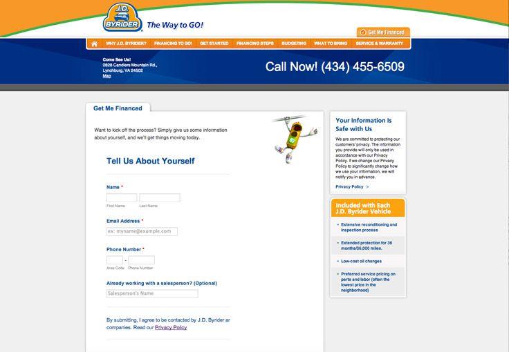 Website for the Lynchburg JD Byrider