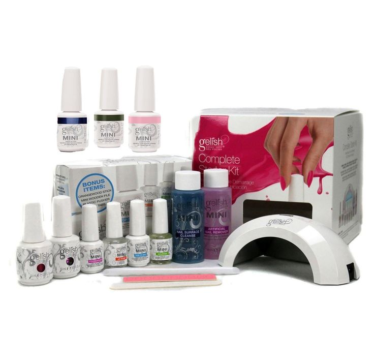 Gelish Harmony Complete Starter LED Gel Nail Polish Kit - Includes 5 Colors. New Gelish Pro Starter Kit. Requires Use of Gelish LED Drying Curing Lamp. Lasts up to 21 days with perfect shine. Uses Gelish patented technology for easy soak off. Polish Cures in 30 seconds under LED lamp (2 minutes under UV lamp).