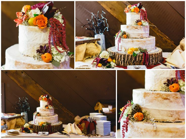 Rustic Cakes, Flower Wedding Cake, Wedding Ideas, Autumn Wedding, Rustic Wedding, Barn Wedding, Wood Cake Stand